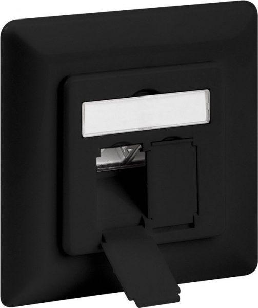 CAT 6a Unterputzdose 2xRJ45, geschirmt, schwarz